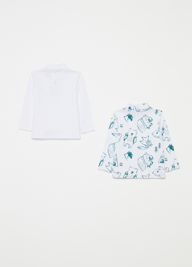 Two-pack T-shirts with high neck and pattern image number null