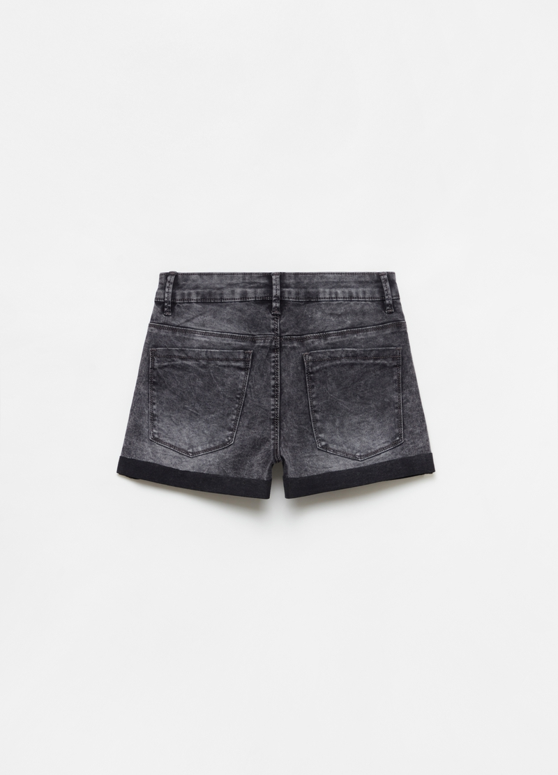 Misdyed-effect stretch denim shorts image number null