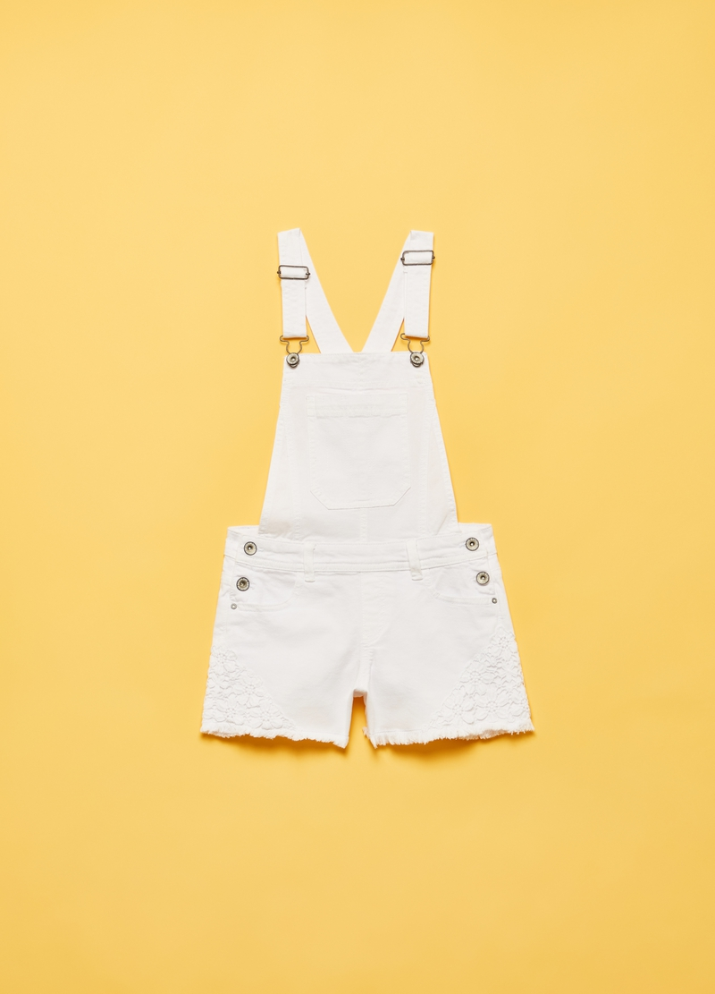 Denim dungarees with floral lace image number null