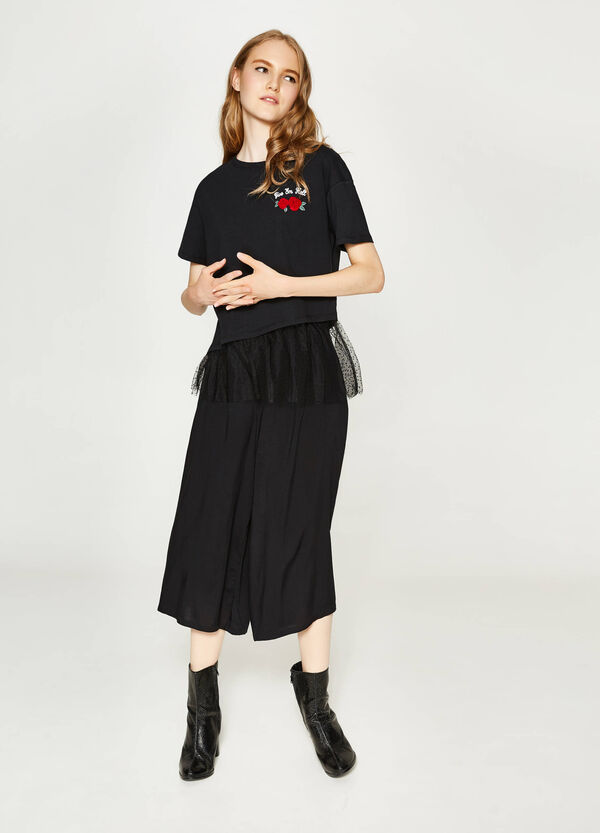 Printed T-shirt in cotton with tulle | OVS