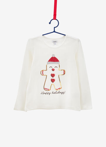 Cotton T-shirt with sequins and Christmas print
