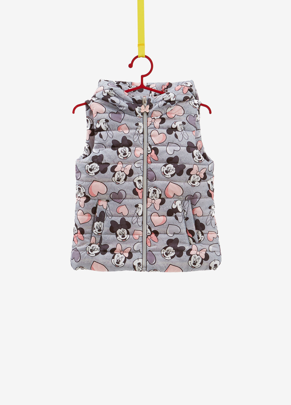 Gilet with hood and Minnie Mouse print