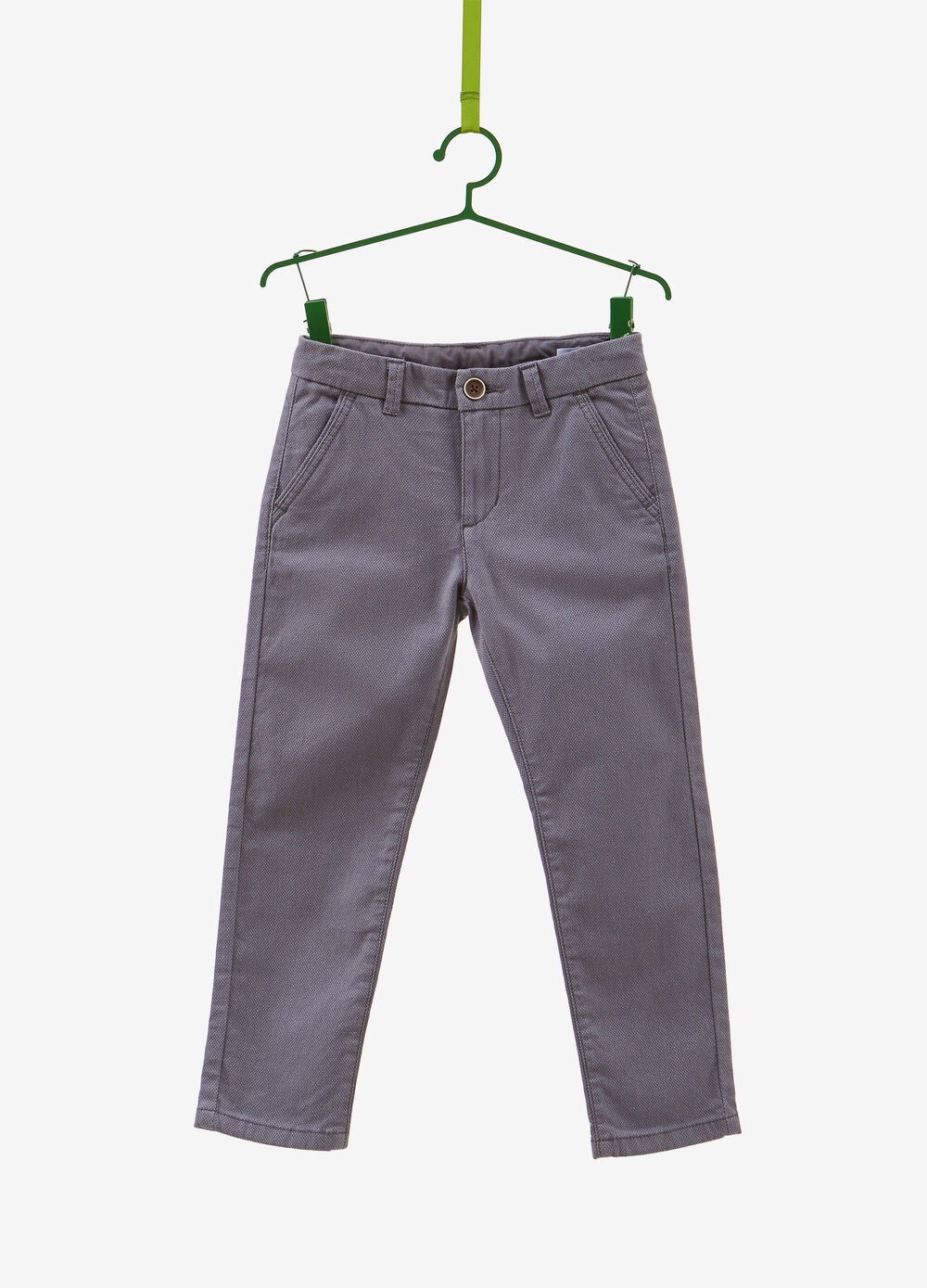Stretch cotton trousers with speckled weave