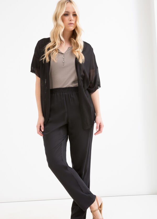 Curvy solid colour viscose trousers   OVS