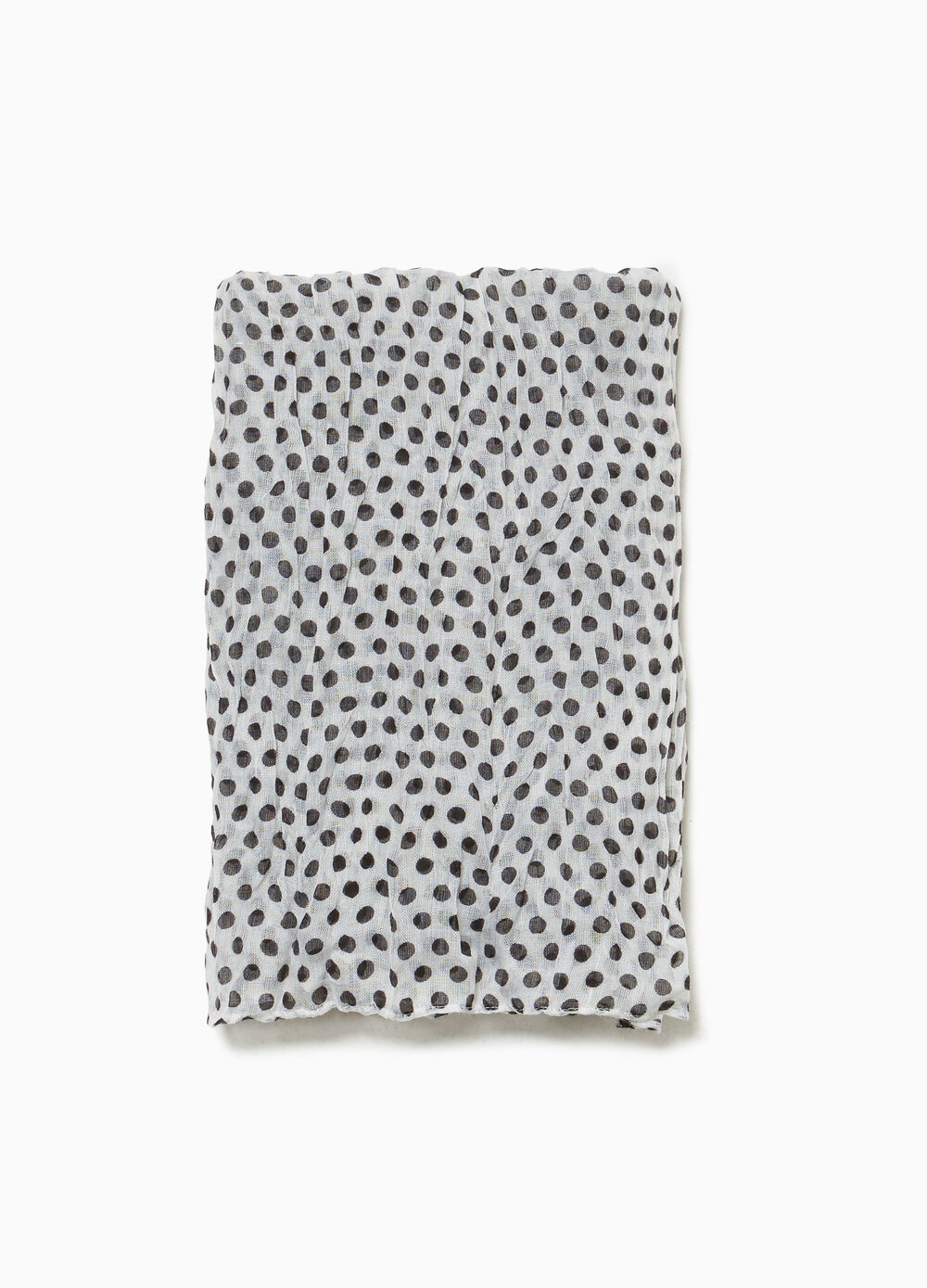 Creased-effect polka dot scarf