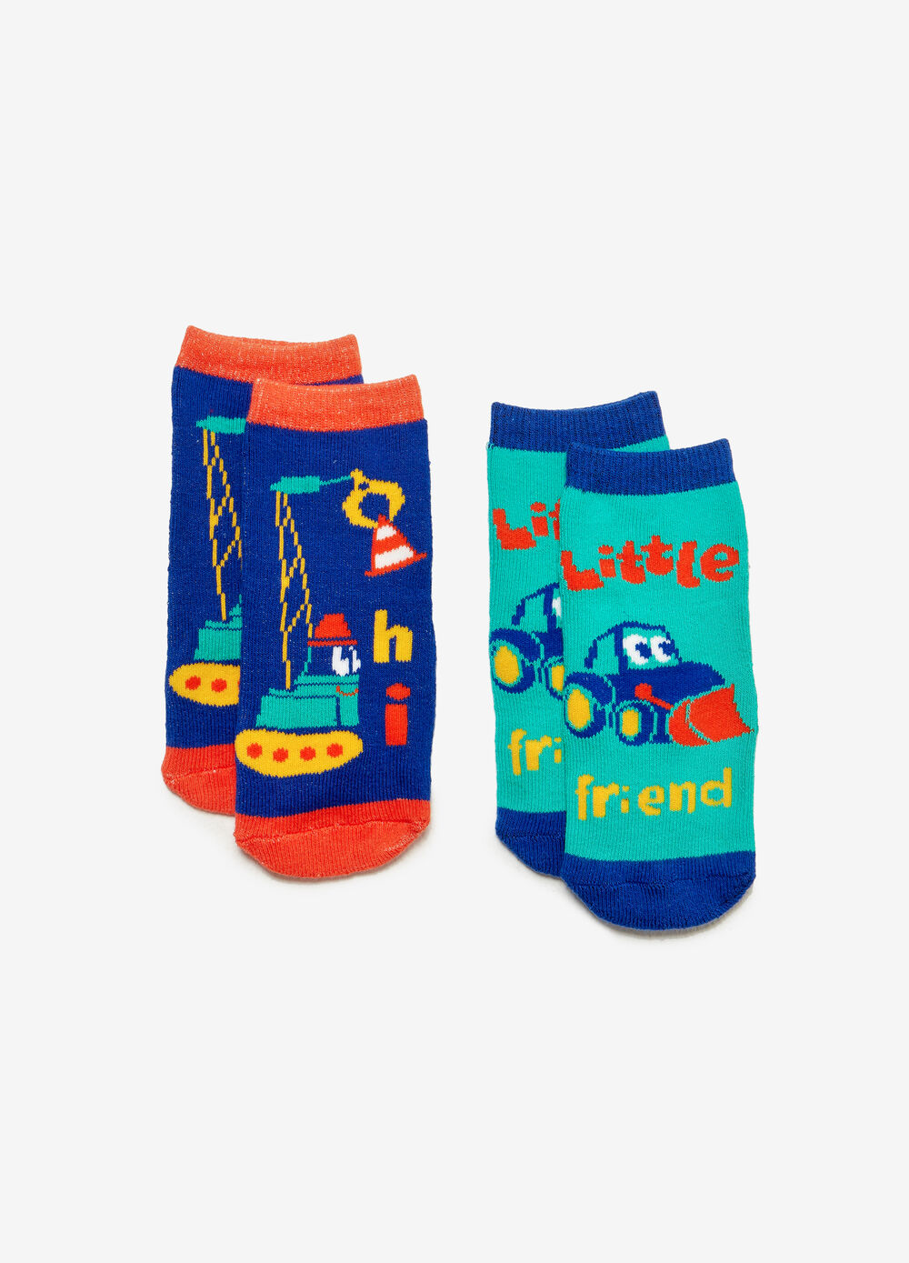 Two-pair pack slipper socks with print