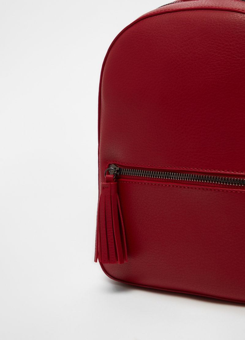 Textured leather-look backpack image number null