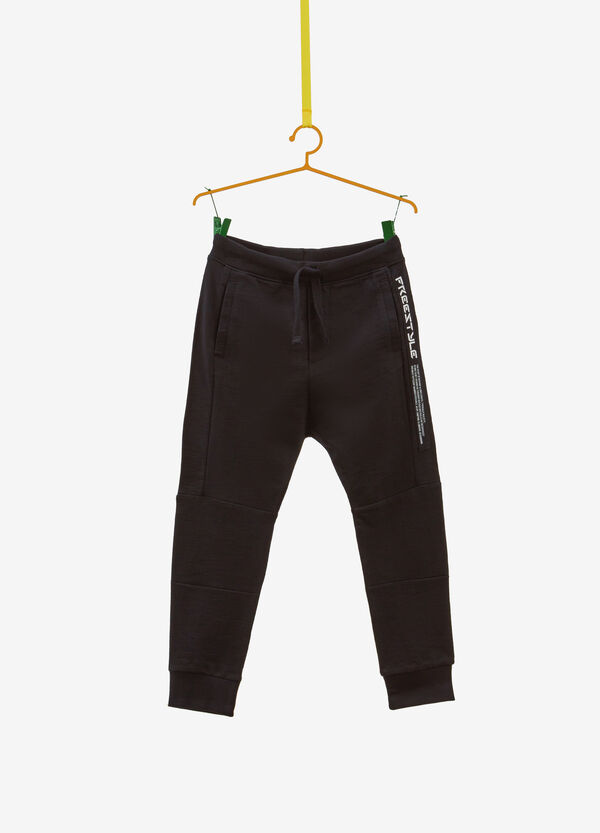 100% cotton trousers with printed lettering