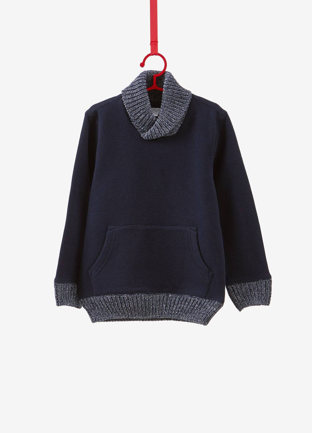 Sweatshirt in 100% cotton with knitted ribbing