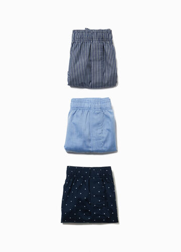 Three-pack patterned cotton blend boxer shorts