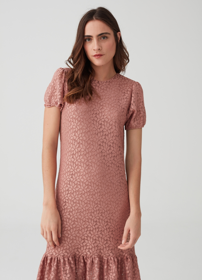 Floral Lace Dress With Short Sleeves Ovs
