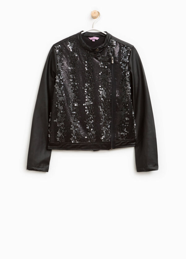 Leather look jacket with sequins | OVS