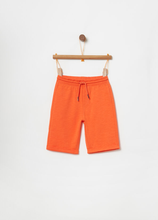 Lightweight fleece shorts with drawstring