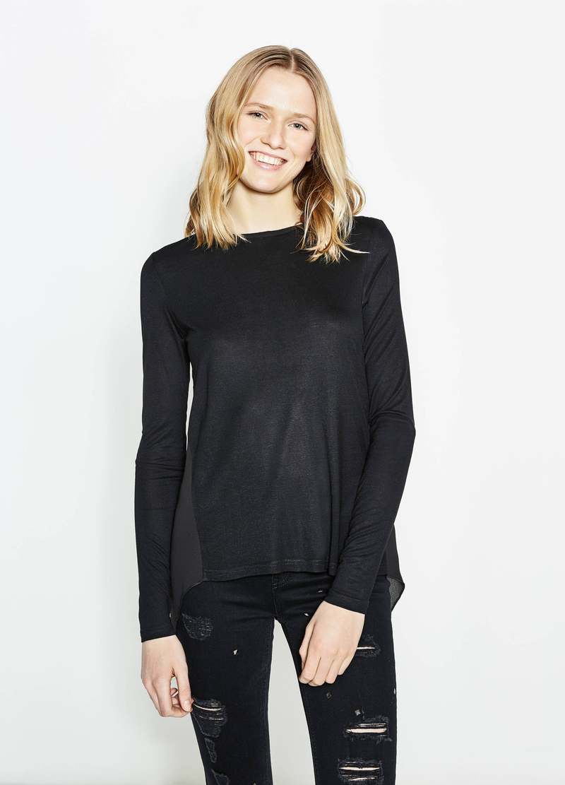 Long-sleeved T-shirt with split on back image number null