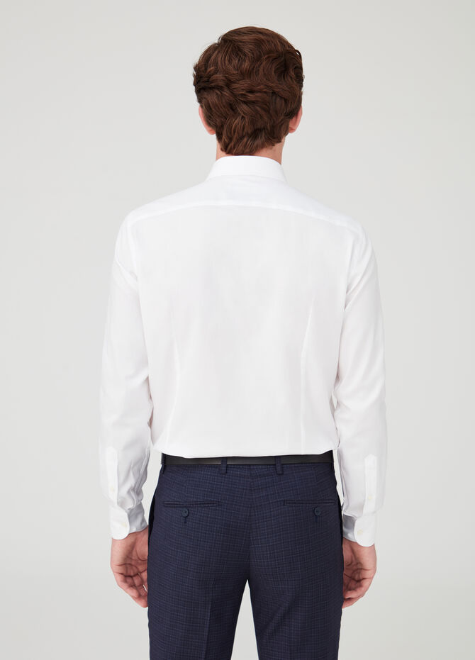 Slim-fit charmeuse-weave shirt with cut-away collar