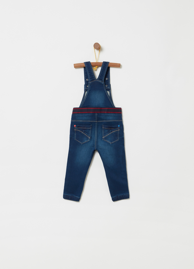 Stretch denim dungarees with elastic waist image number null
