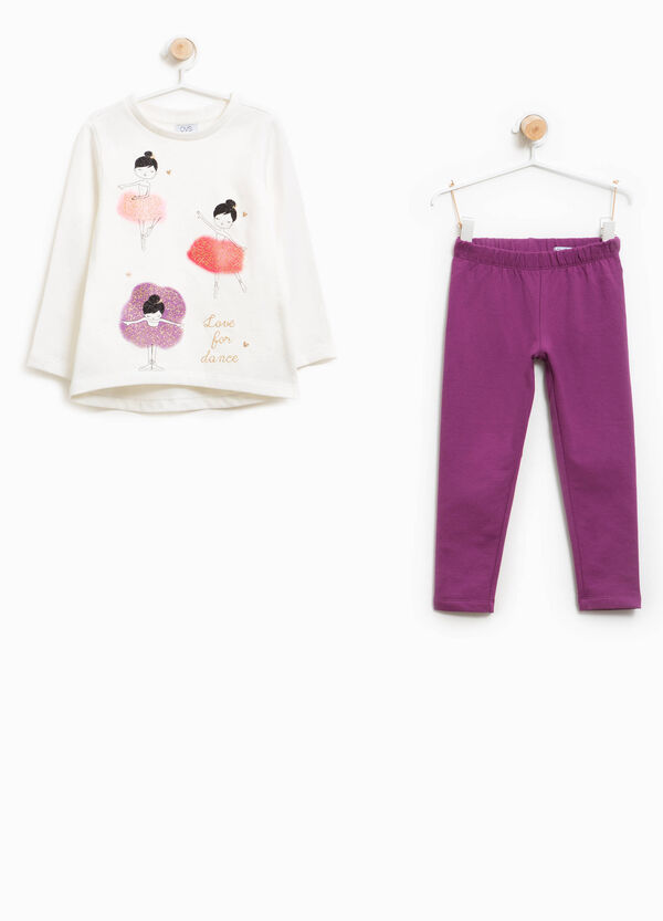 Tracksuit in cotton with glitter ballerina print | OVS