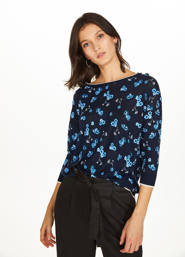 Floral viscose pullover with striped edge