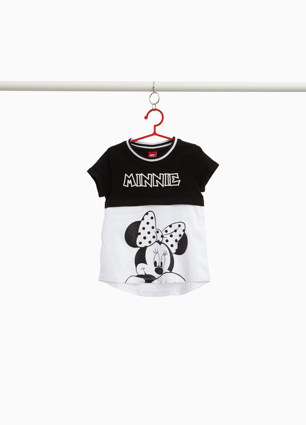 T-shirt in cotone stretch bicolore Minnie