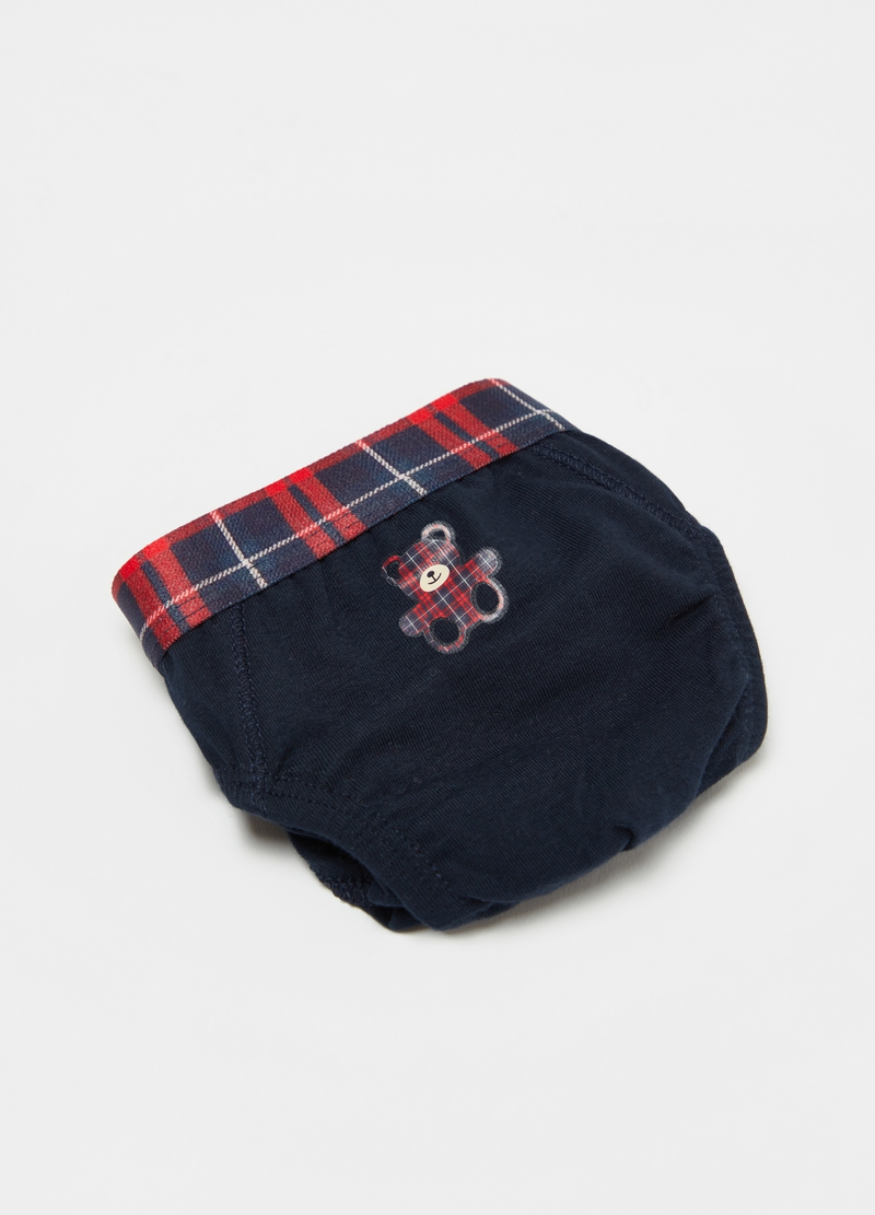 Briefs with tartan teddy bear print image number null