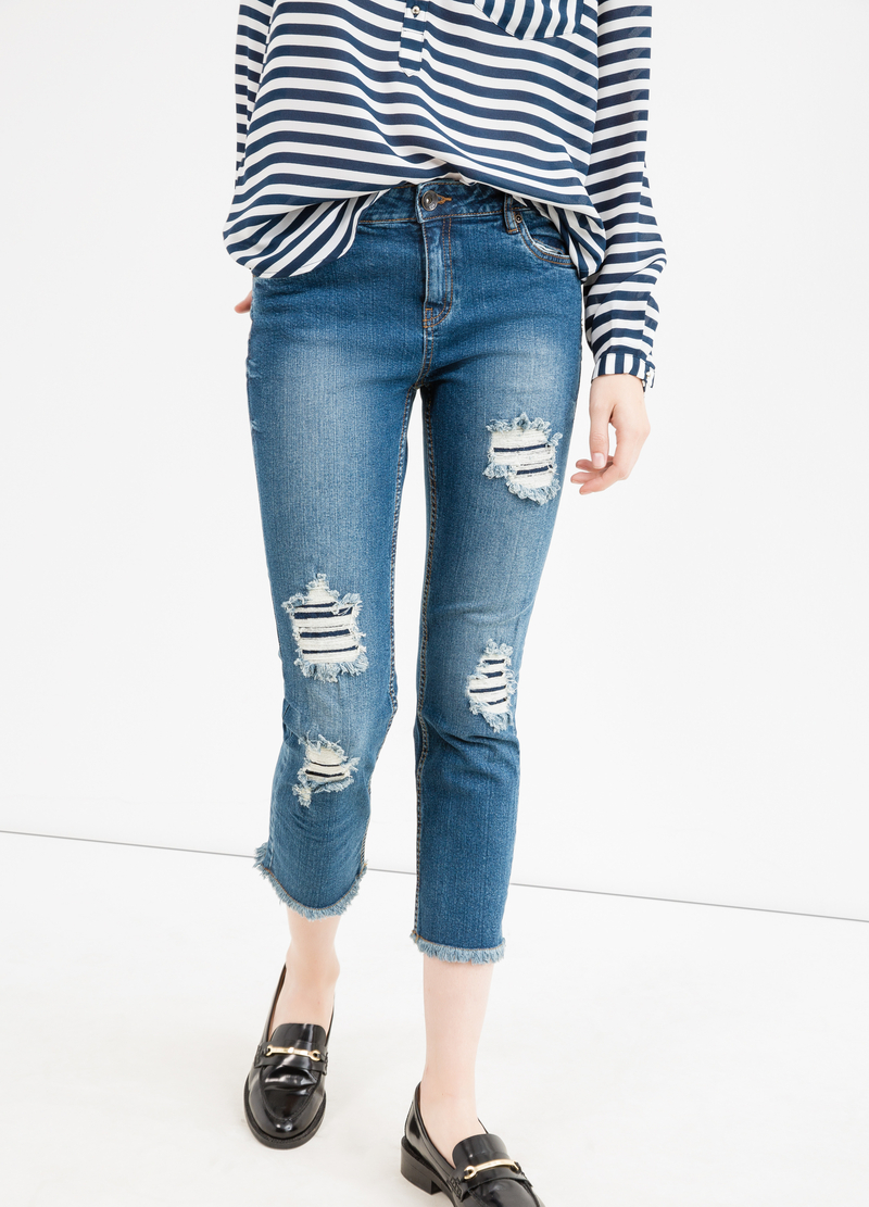 Ripped, skinny-fit crop jeans image number null