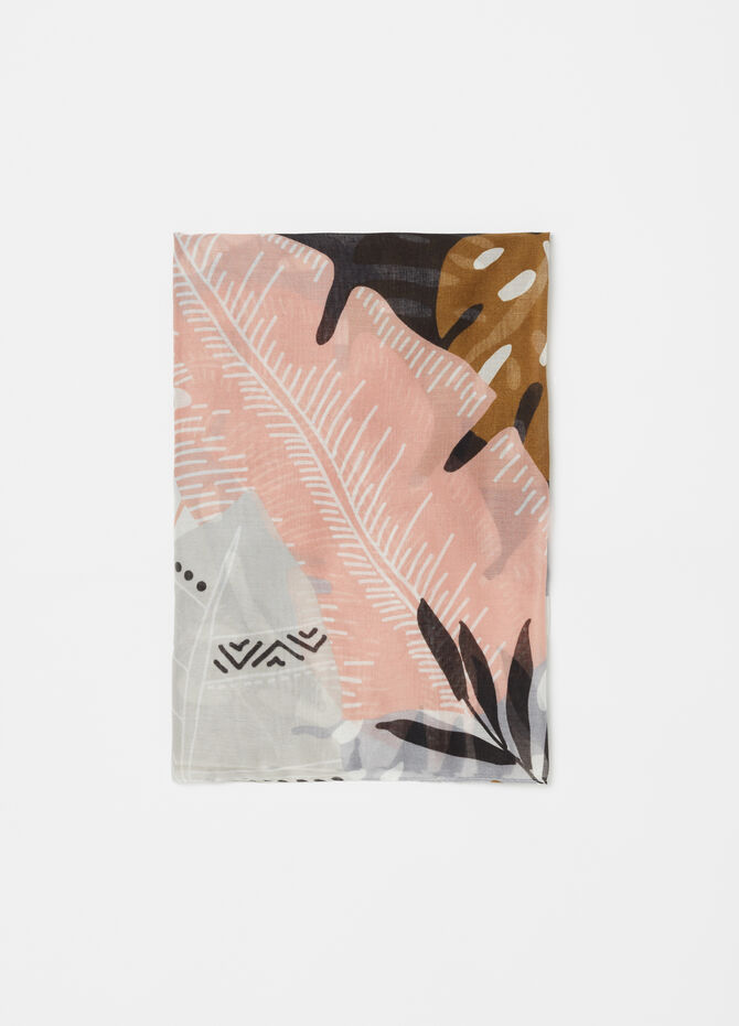 Scarf with leaf motif print