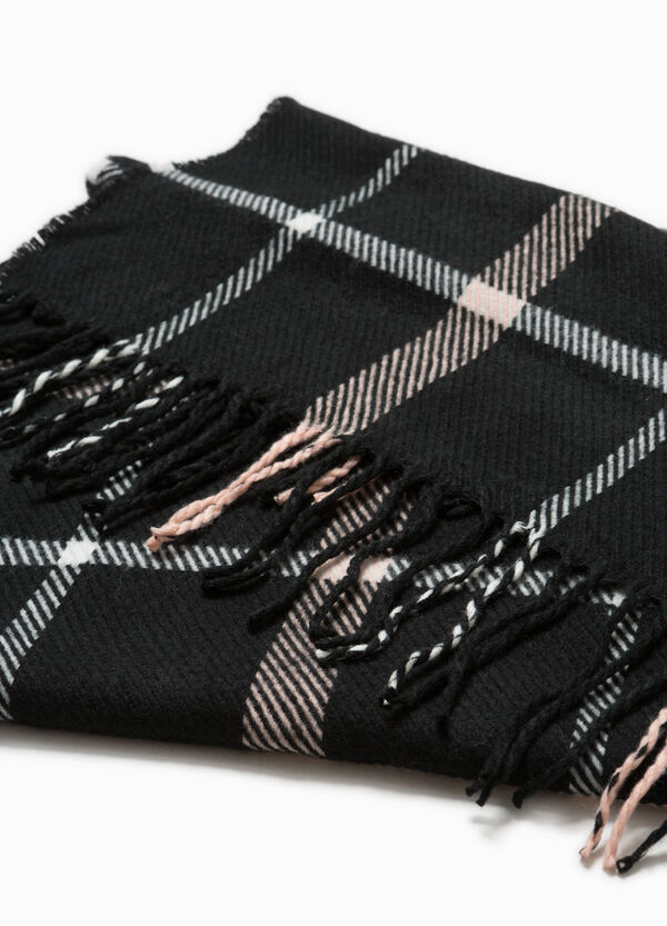 Check scarf with long fringing