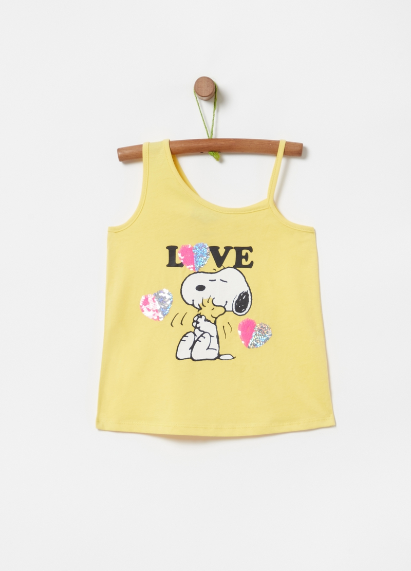 Peanuts Snoopy tank top with sequins image number null