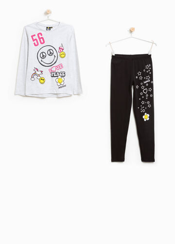 Pyjamas in 100% cotton with Smiley print