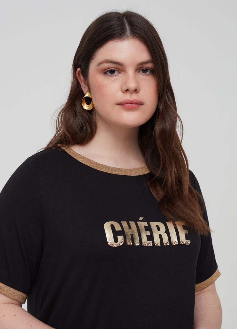 Curvy T-shirt with print and stones image number null