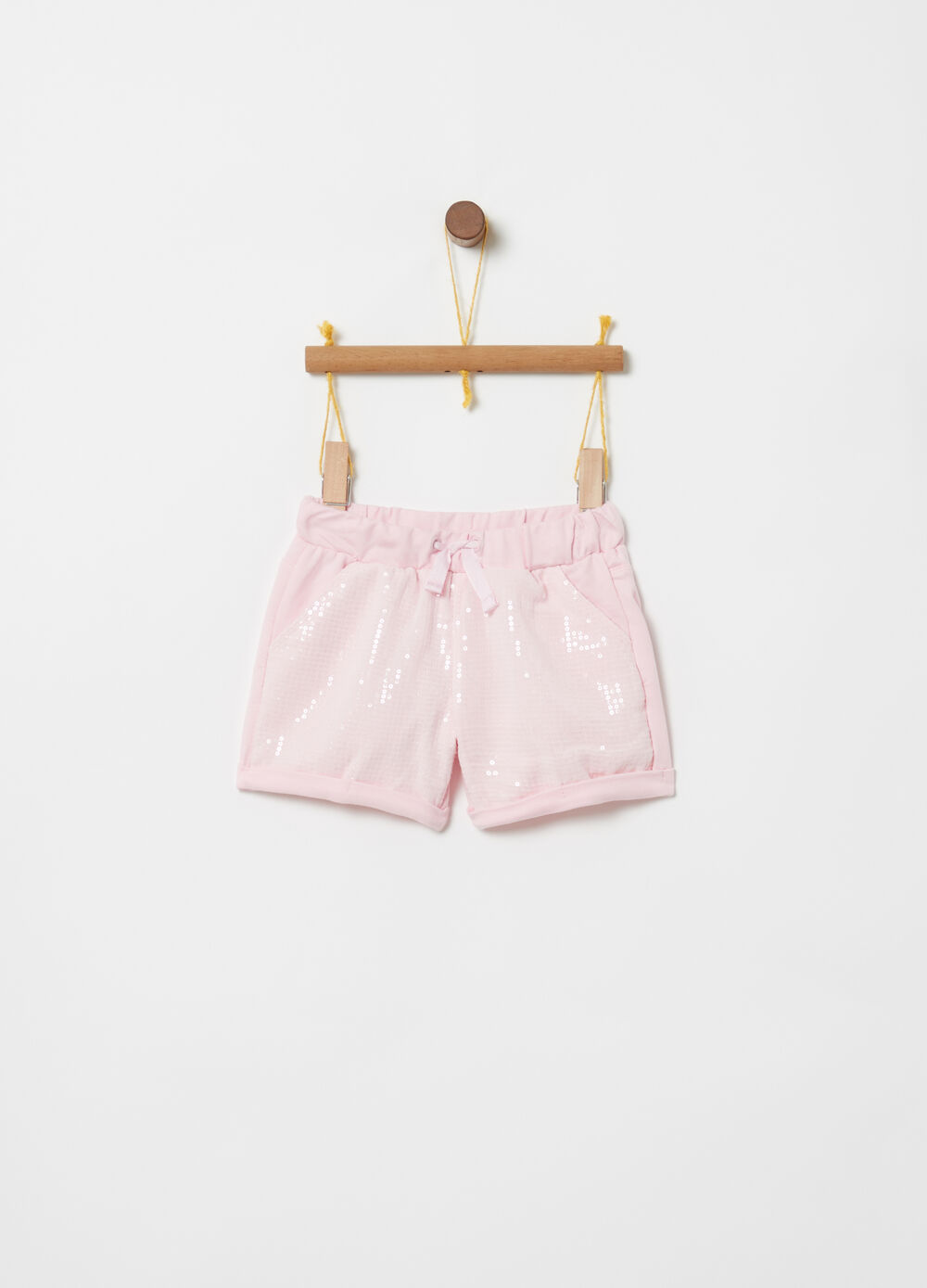 Shorts biocotton paillettes coulisse