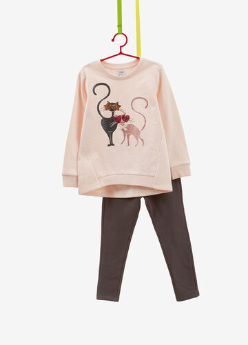 Tracksuit in 100% cotton with sequins and kitten print