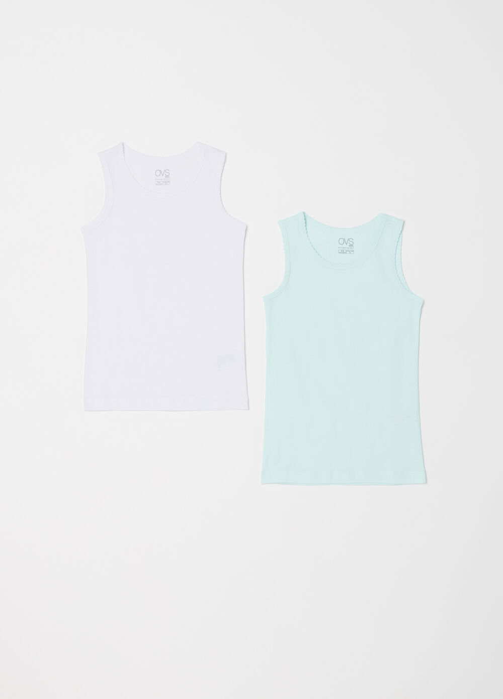 Two-pack vest tops with ruffles