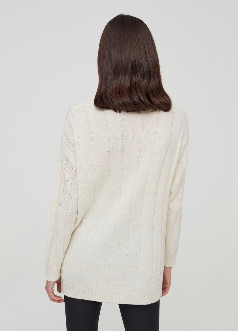 Cable knit pullover with high neck image number null