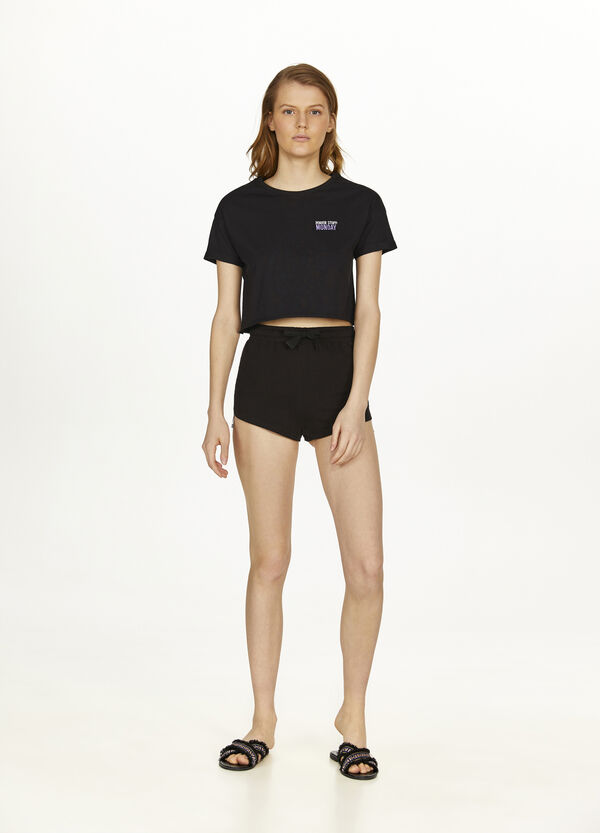 Cotton shorts with bands and drawstring
