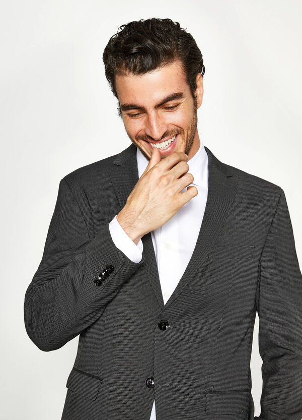 Regular-fit suit in viscose with weave | OVS