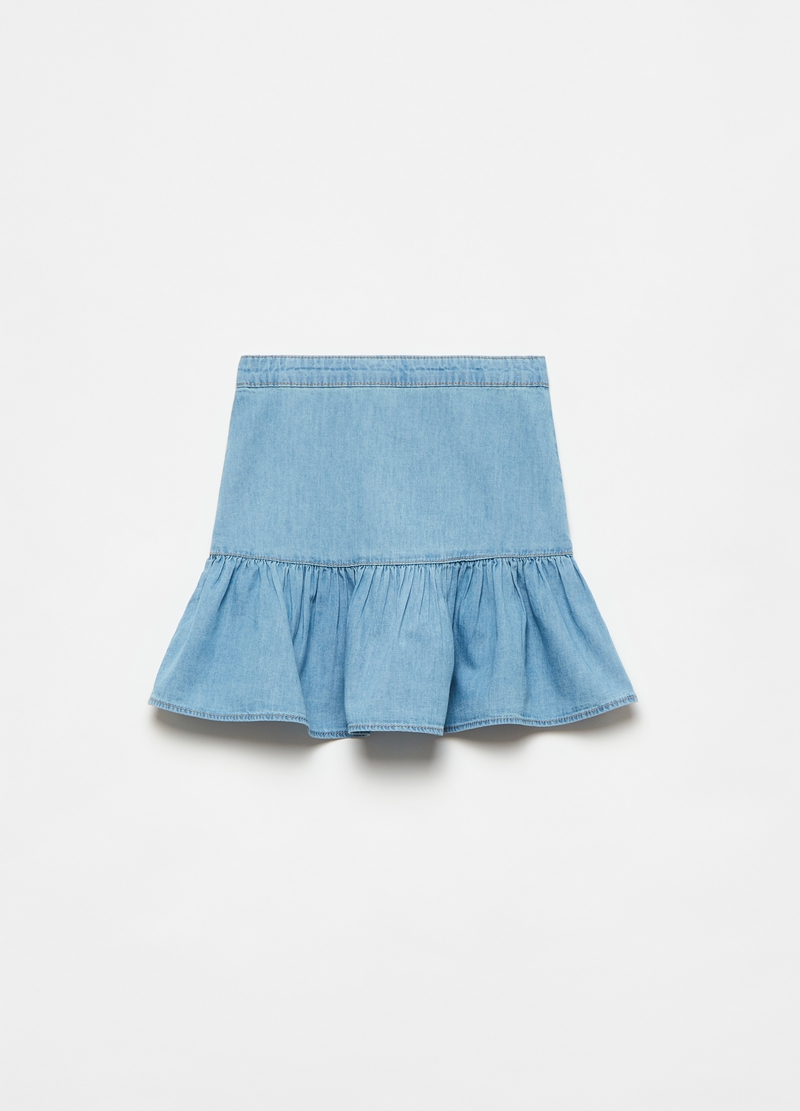 Denim skirt with buttons and flounce image number null