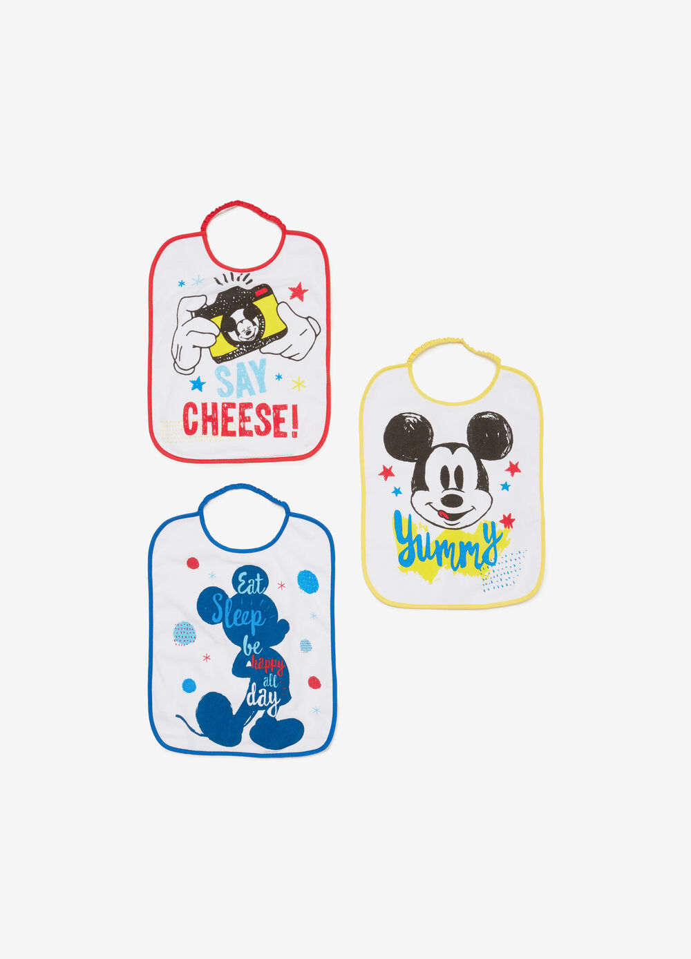 Set tre bavette stampa Mickey Mouse