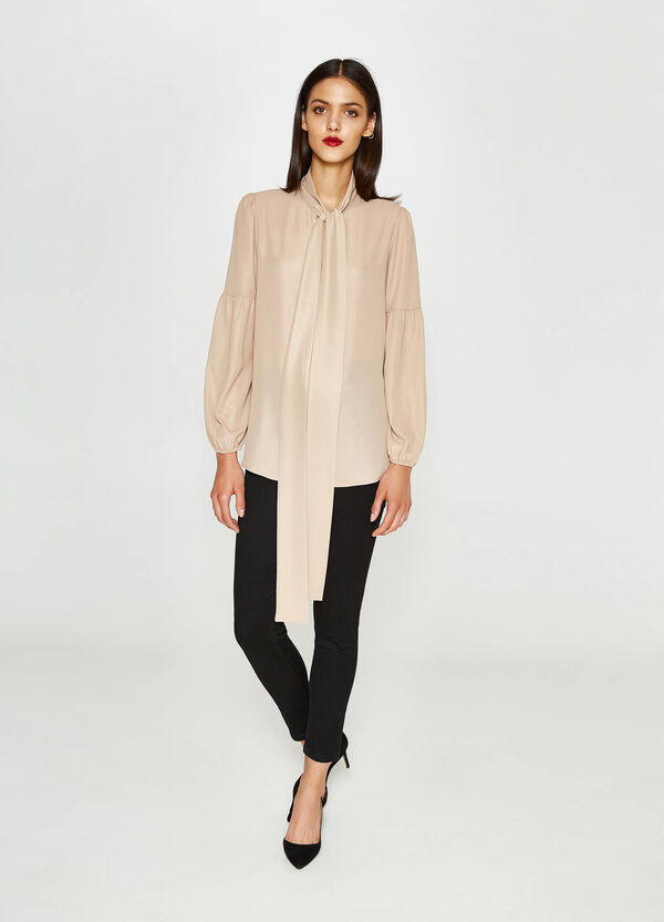Blouse with long sleeves and tie | OVS