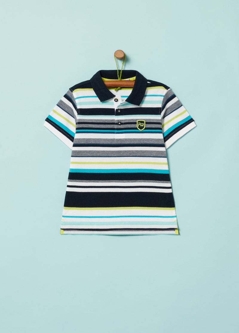 Polo shirt with striped patterned embroidery image number null