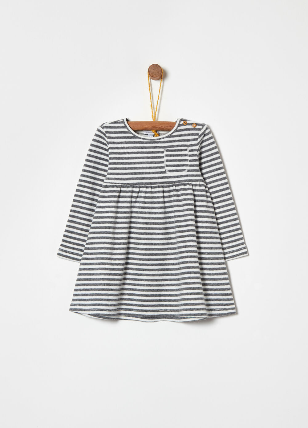 Warm striped dress with pocket