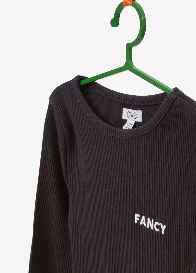 Stretch T-shirt with ribbing and embroidery