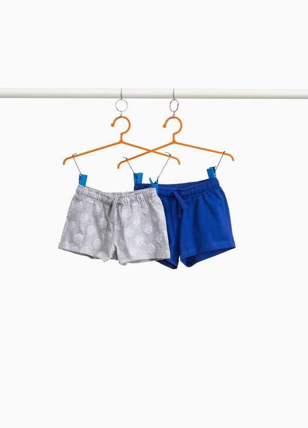 Two-pack polka dots and solid colour cotton shorts
