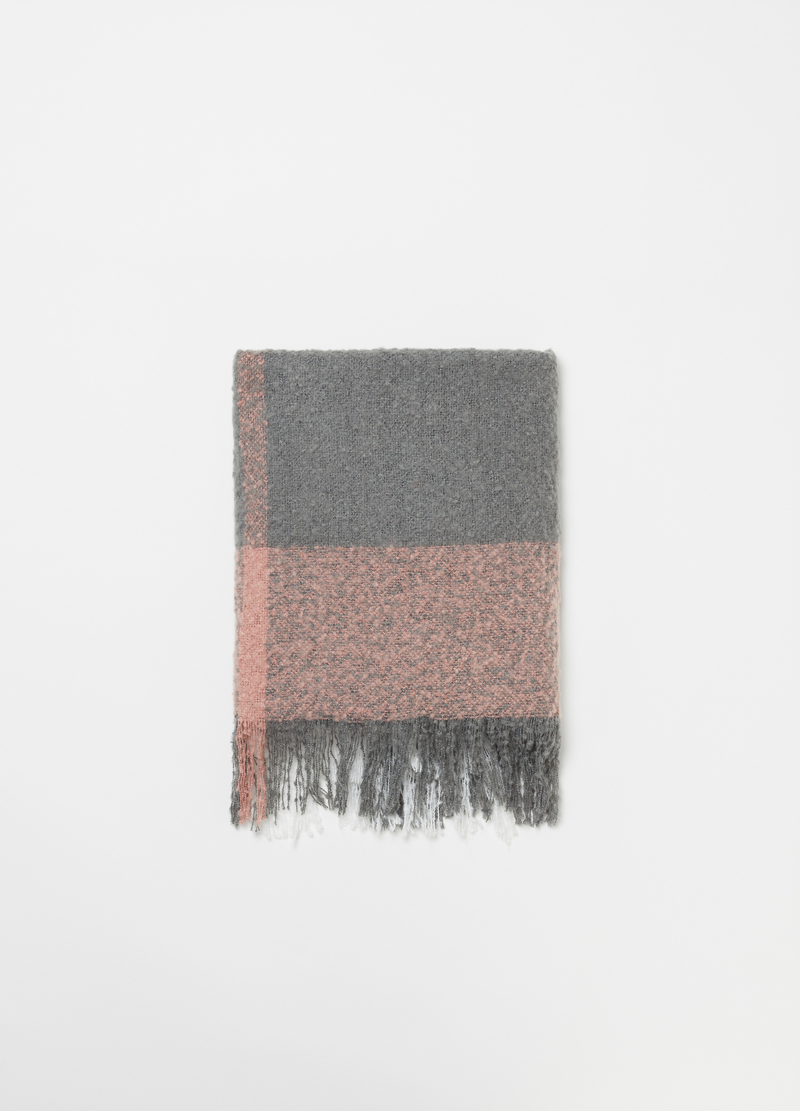Bouclé-effect maxi scarf with check pattern image number null