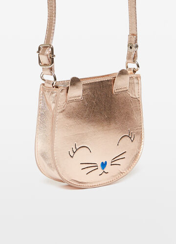 Shoulder bag with kitten embroidery