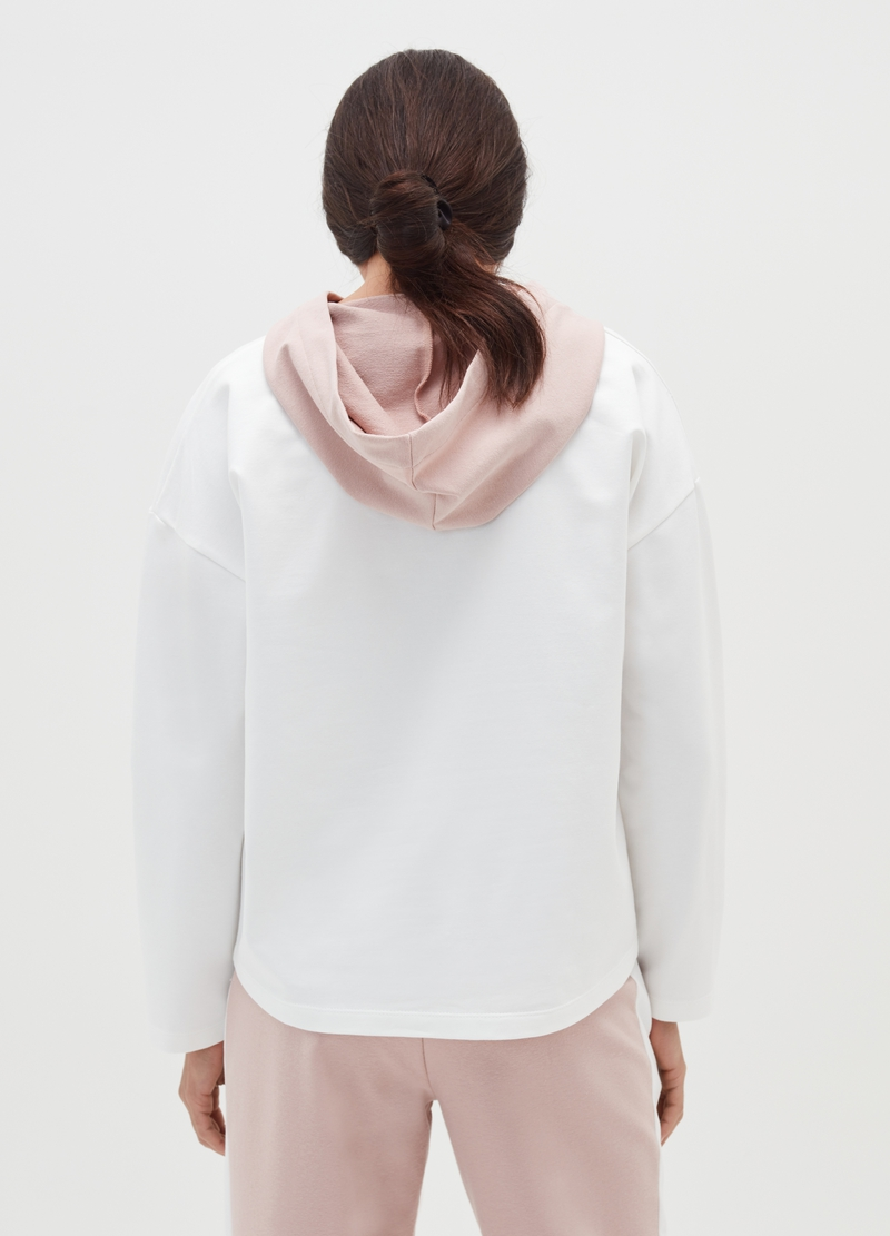 Sweatshirt with hood and contrasting insert image number null