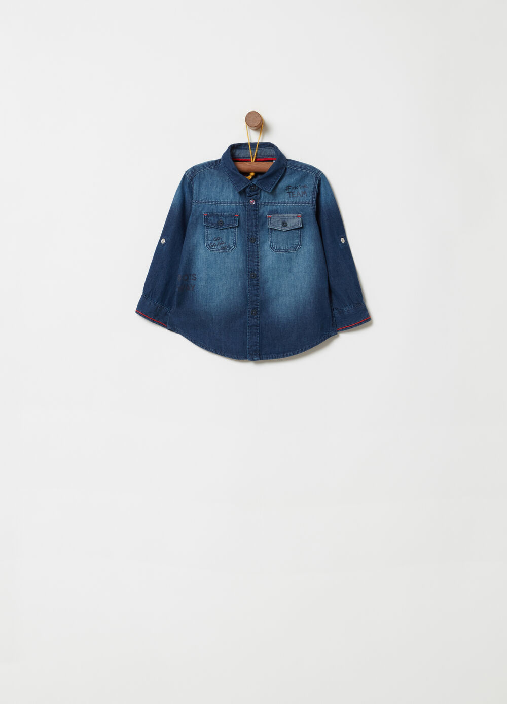 Denim-effect shirt in 100% cotton