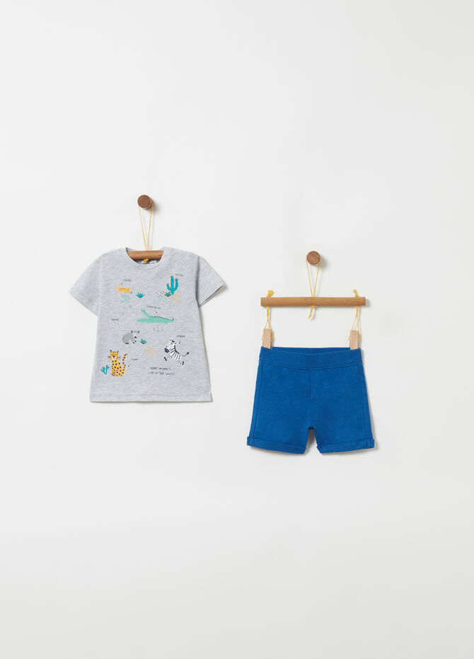 Animals T-shirt and ribbed shorts jogging set