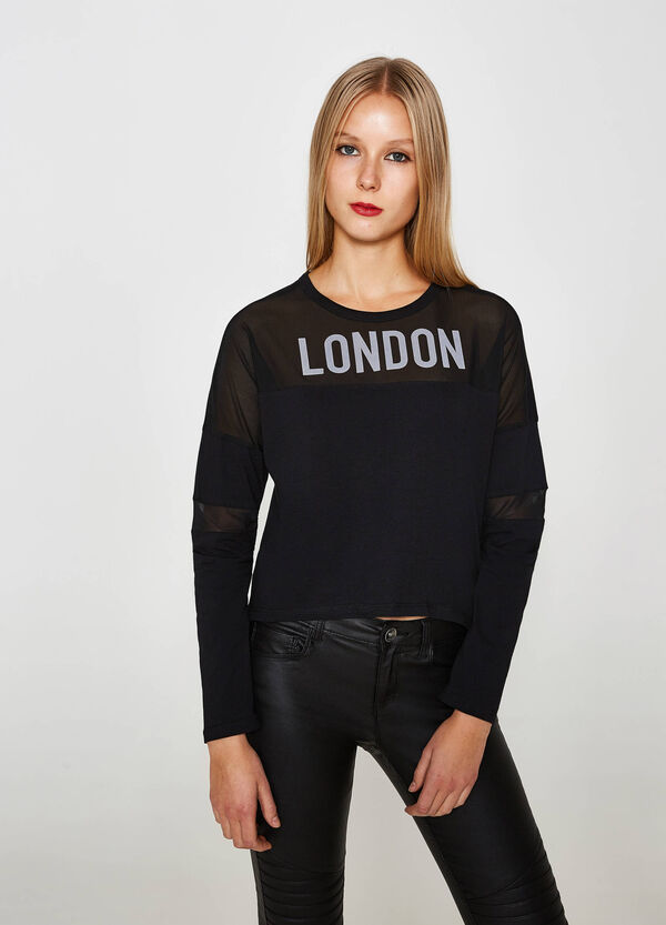 Cotton sweatshirt with semi-sheer inserts | OVS