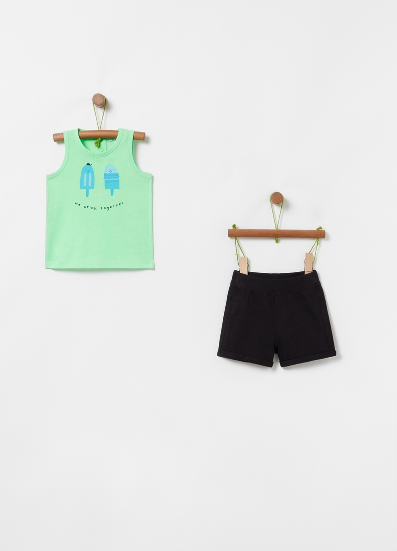 Vest and shorts jogging set with print image number null